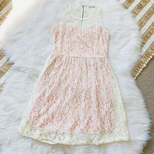 Francesca's pink and cream lace dress